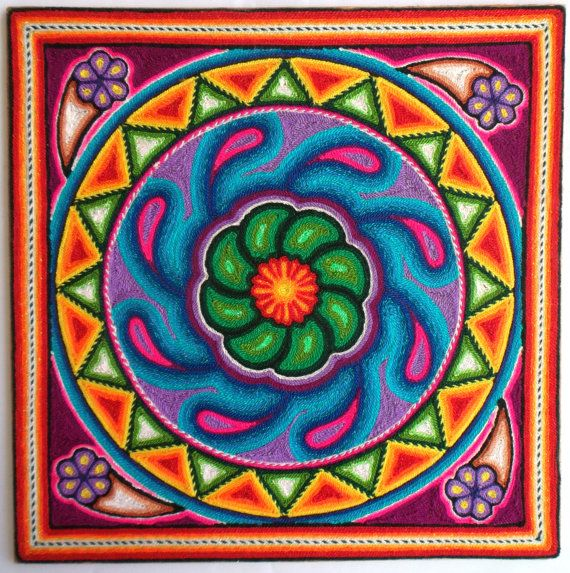 12 Mexican Huichol Peyote Cactus yarn painting by Aramara on Etsy