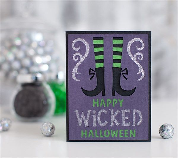"""Happy Wicked Halloween Card - Give a wicked Halloween card! Finished card measures 4.25"""" W x 5.25"""" H. Images are from the Creepy Critters digital cartridge. - Dezi Moss"""