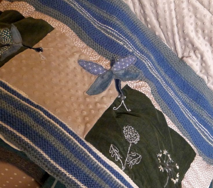Couverture Bébé, Jeté de Canapé, Brodé, Libellules, et Pissenlits : Linge de lit enfants par princesse-aglae