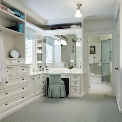 walk-in off directly off bathroom with built-in vanity --genius! love blue/white color scheme