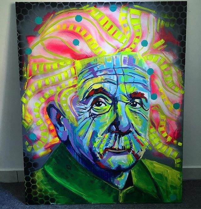 Einstein / akryl 100x80 #einstein #art #painting #acrylicpainting #work #passion #knowledge #ulakaminska #clarise