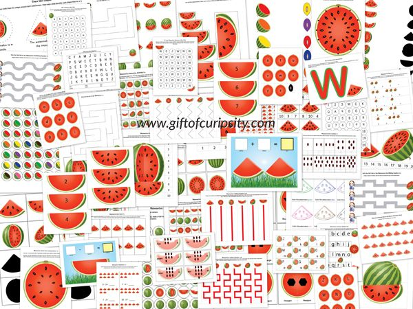 Watermelon Printables Pack containing 69 watermelon-themed activities for kids ages 2-7. Perfect for summer learning! #watermelon #freeprintables || Gift of Curiosity