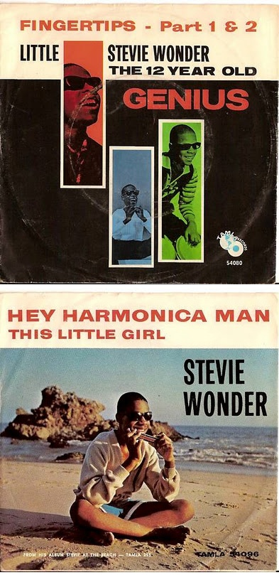 Little Stevie Wonder 45 rpm Record Sleeves — Fingertips - Part I & II (1963) & Hey Harmonica Man (1964)