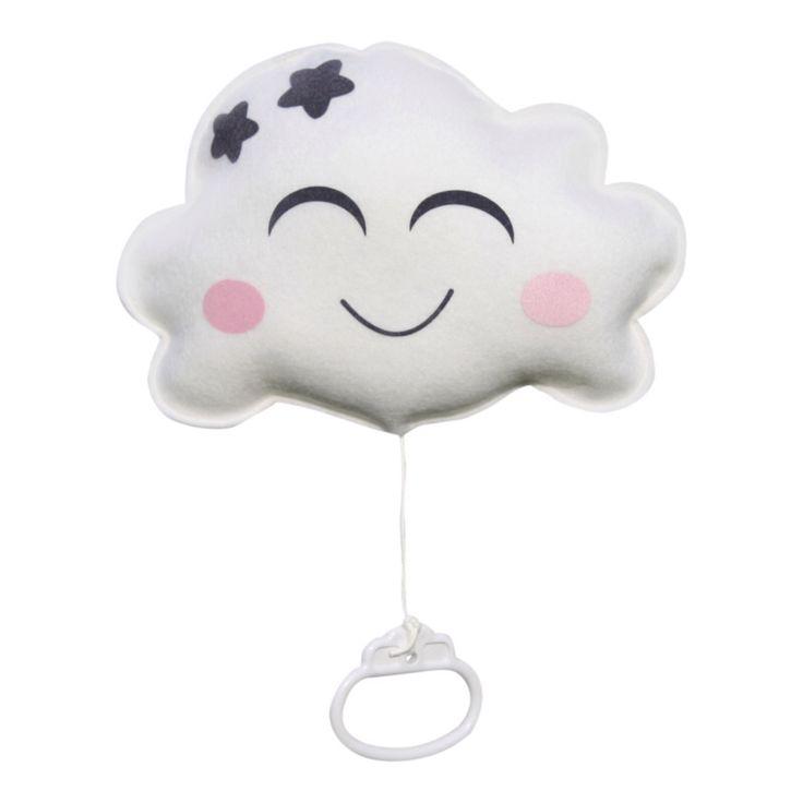 Muziekdoosje wolk in wit, handgemaakt van wolvilt, met een lief gezichtje. Het muziekdoosje speelt de rustige melodie van Brahms lullaby. Afmeting: Breedte 22cm hoogte 16cm. Ook verkrijgbaar in roze en mintgroen.