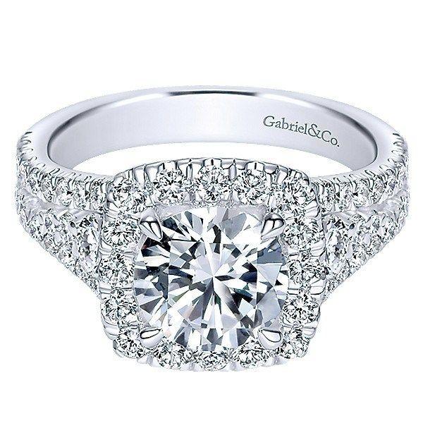 18K White Gold Filled Split Shank Diamond Engagement Ring with Cushion Halo