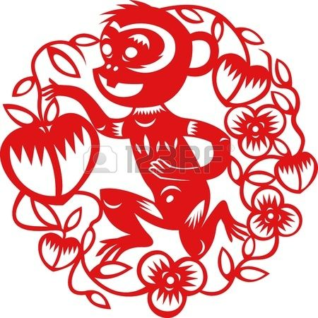 2016 Chinese jaar van de Aap door traditionele Chinese papier gesneden kunst