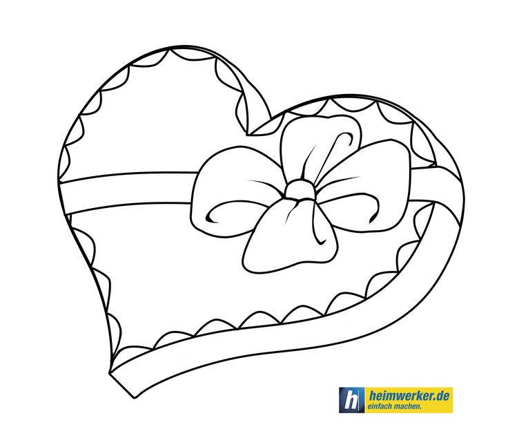 Valentinsherz - Malvorlage Valentines heart - coloring page