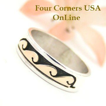 Four Corners USA Online - Size 8 Ring 14K Gold Silver Ring Wave Water Symbol Native American Wedding Band Style David Skeets NAR-1487, $65.00 (http://stores.fourcornersusaonline.com/size-8-14k-gold-silver-ring-wave-water-symbol-native-american-wedding-band-style-david-skeets-nar-1487/)