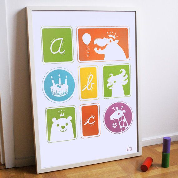 Childrens colourful illustrated ABC poster 50x70 cm by Lalalabel, kr110.00