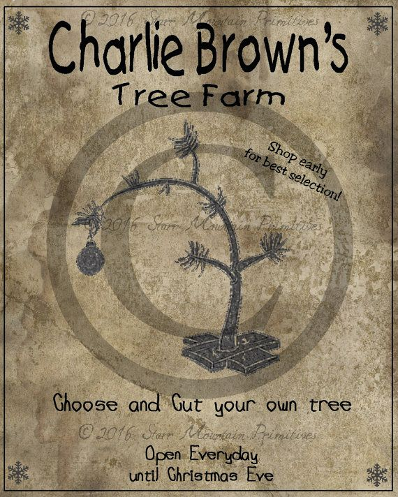 Attractive Charlie Brown Christmas Tree Farm Part - 14: Primitive Vintage Charlie Brown Tree Farm Christmas Jpeg Image Great For  Pillows Labels Hang Tags Magnets Ornies Notecard Card Candle