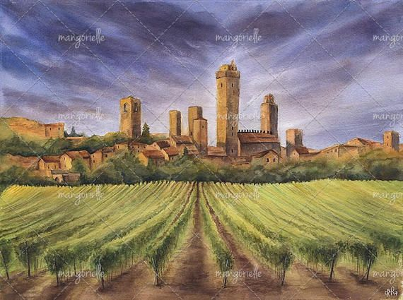 Its my original watercolor painting of magnificent italian landscape with San Gimignano town in the background :) And, of course, in the foreground there are Tuscan vineyards! :)   #painting #watercolor #art #italy #present #giftforchristmas #seaside #watercolorforsale #vineyard #tuskany #italianlandscapes