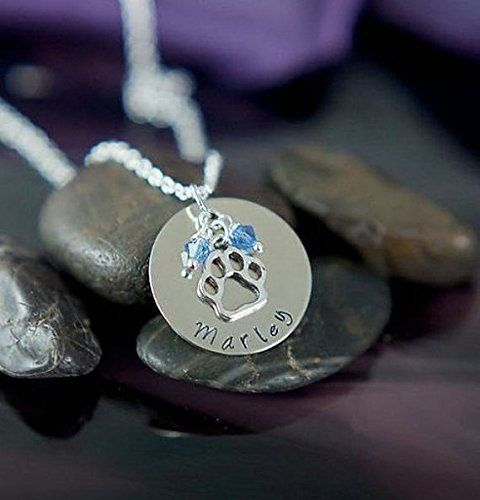 Personalized Paw Print Necklace - DII - Pet Lover Gift - Handstamped Handmade - 1 Inch 25.4MM Silver Disc - Choose Birthstone Color - Customize Name - Fast 1 Day Shipping