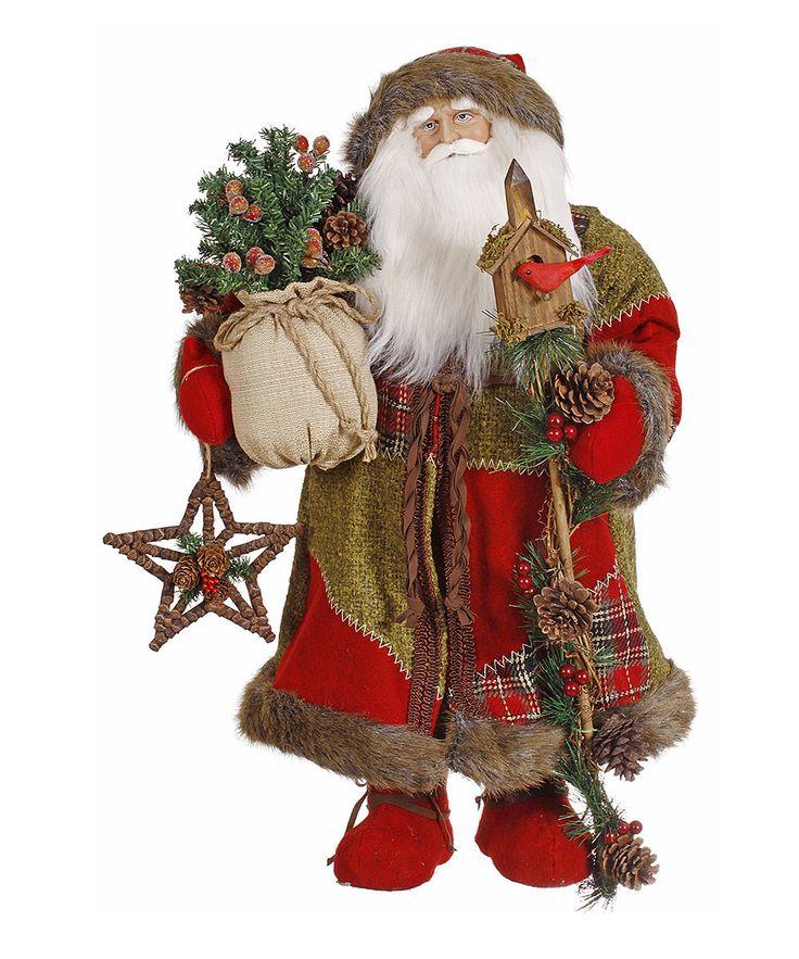 Red & Green Old-World Santa Figurine