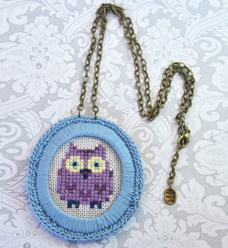 Cross stitch cute owl pendant necklace. Embroidery necklace, Crochet, Blue, Violet, Antique chain. €19.90, via Etsy.
