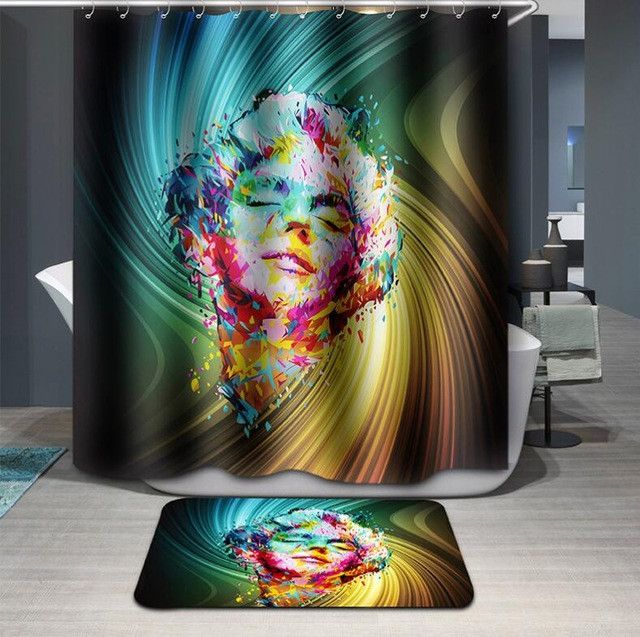 High Quality 3D Eye girl Shower Curtain Waterproof Bathroom Curtain Polyester cortina ducha with Hooks curtains for bath room