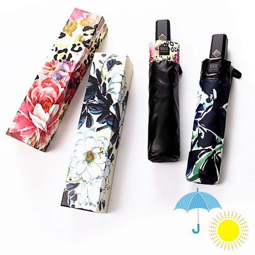 晴雨兼用・UV CUT★自動開閉・折り畳み雨傘(牡丹柄)~ギフトボックスつき