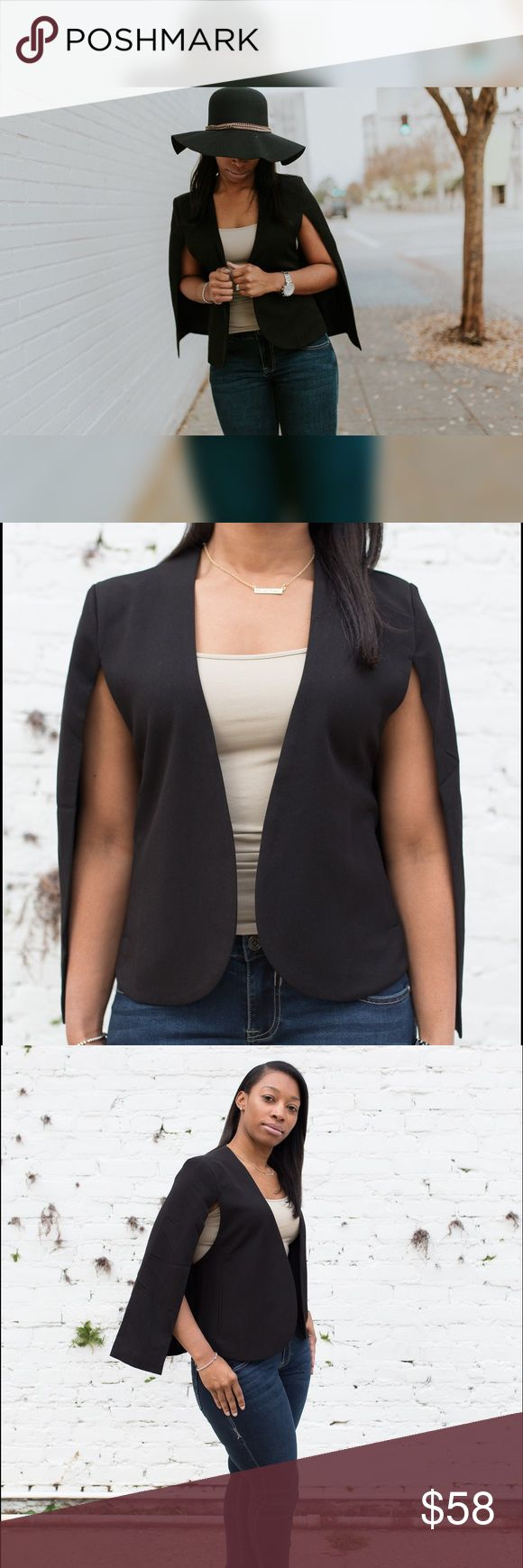 Charlie Cape Sleeve Jacket Our Charlie cape is a certified show stopper. It's a little black staple piece with class that will take any outfit either casual or formal to the next level . It's built like a blazer with half the hassle of full sleeves but serving the purpose of completing any outfit ! It's easy to slip on, and a great material built for re-wear! Jackets & Coats Capes
