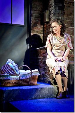 """Kyrie Anderson stars as Mrs. Johnstone in Theo Ubique Cabaret Theatre's """"Blood Brothers"""" by Willy Russell, directed by Fred Anzevino. (photo credit: Adam Vaness)"""
