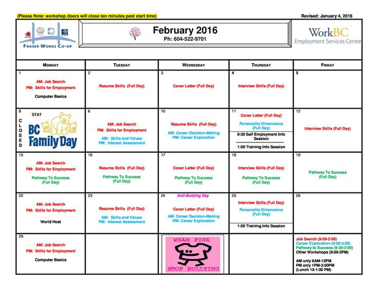 Our February calendar is ready for your perusal! Register w/ your case manager today!