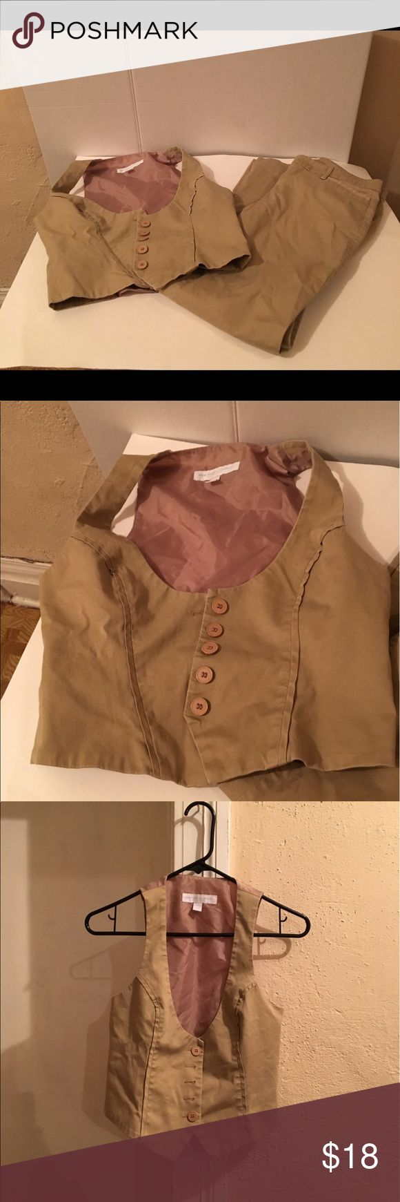 Khaki Vest & Pants Set Size 2 Khaki vest and pants set New York & Company Pants Trousers