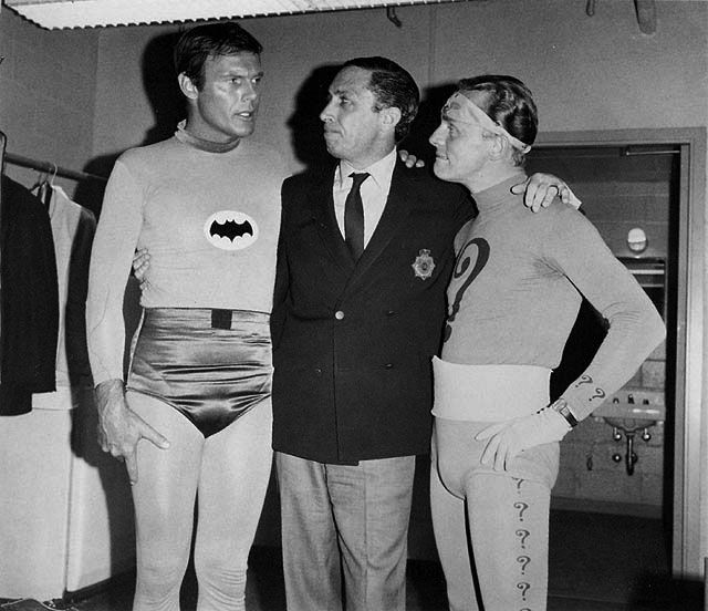 Adam West, Bob Kane, and Frank Gorshin.