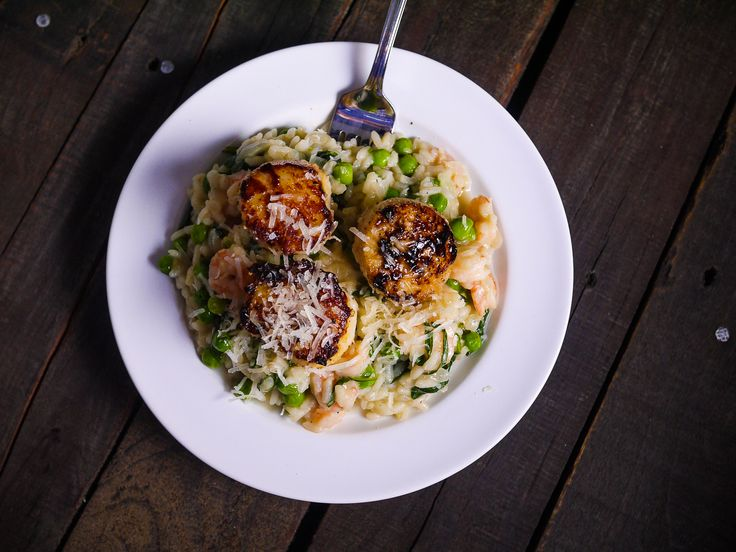 Barbells and Bellinis: Seared Scallops with Shrimp, Herb and Spring Vegetable Risotto