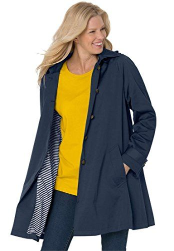 Women's Plus Size Classic Raincoat With Detachable Hood >>> To view further for this item, visit the image link.