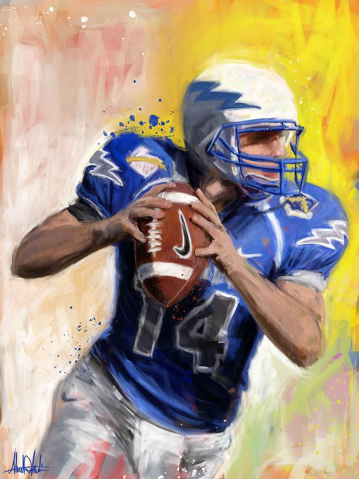 Portrait painting for American football Player wearing blue and white with yellow background drawing by graphic designer artist in Dubai Ahmad Kadi +971562229501