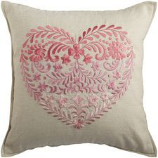 Ombre Embroidered Heart Pillow - Pink: