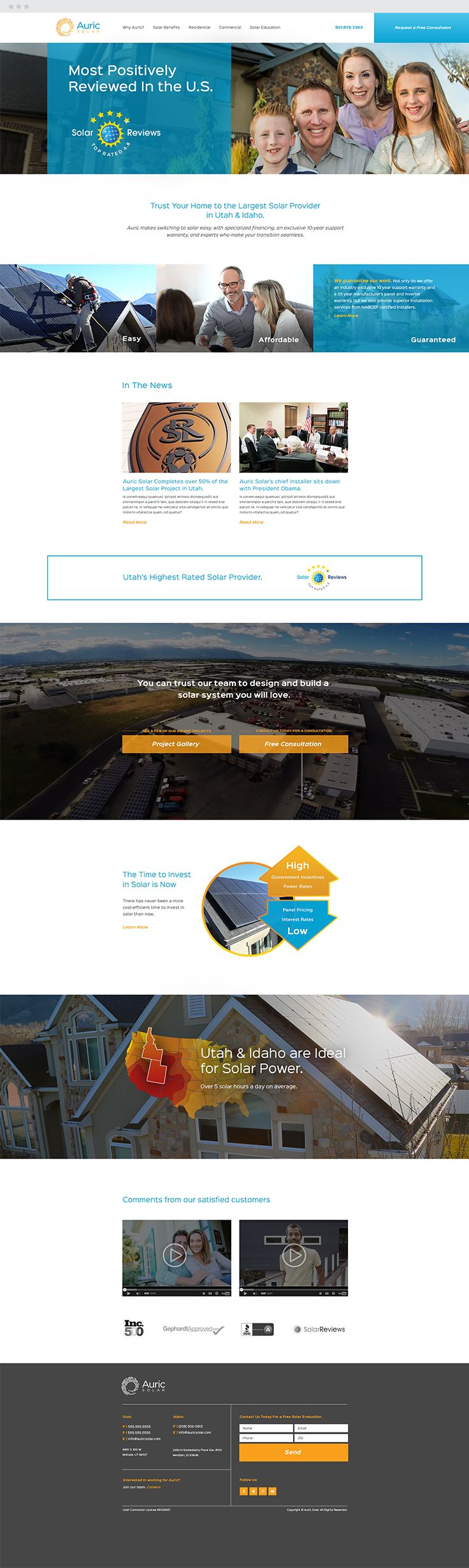 Auric Solar Responsive Web Design  #epicmarketing #marketing #auricsolar #solar #webdesign #web #responsive #graphicdesign