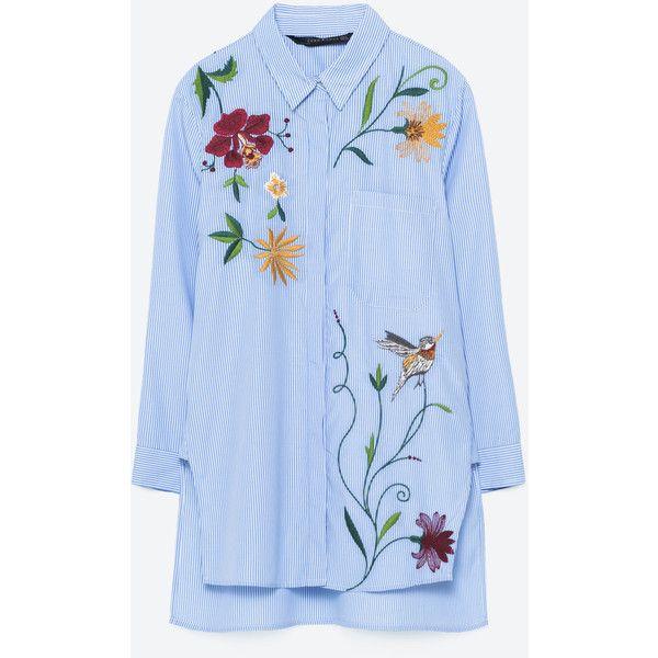 EMBROIDERED POPLIN SHIRT - Shirts-TOPS-WOMAN | ZARA United Kingdom (4.210 RUB) ❤ liked on Polyvore featuring tops, embroidery top, embroidered tops, blue shirt, blue top and poplin shirt