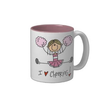 "If you love cheerleading and love stick figures you'll love this cute cheerleading design featuring a stick figure girl cheerleader dressed in a pink cheering uniform with pink pom pons and text that reads ""I Love Cheering!"". These cute cheerleader T-shirts, mugs, mousepads, keychains, and other items make great gifts for cheerleaders! #cheerleader #cheering #cheer #cheerleading #sports #girls #womens #kids #stick #figures #stick #people #peacockcards #cartoon"