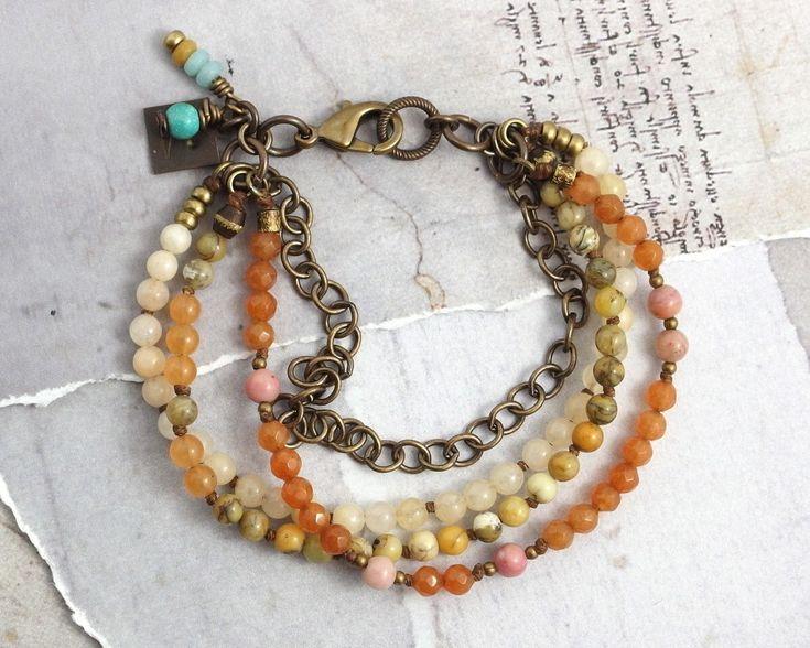 Aventurine bracelet Moss agate jewelry Multistrand bracelets for women Orange bracelet with stones Chain and stone bracelet Rustic jewelry by chickandcharming on Etsy https://www.etsy.com/listing/556968099/aventurine-bracelet-moss-agate-jewelry