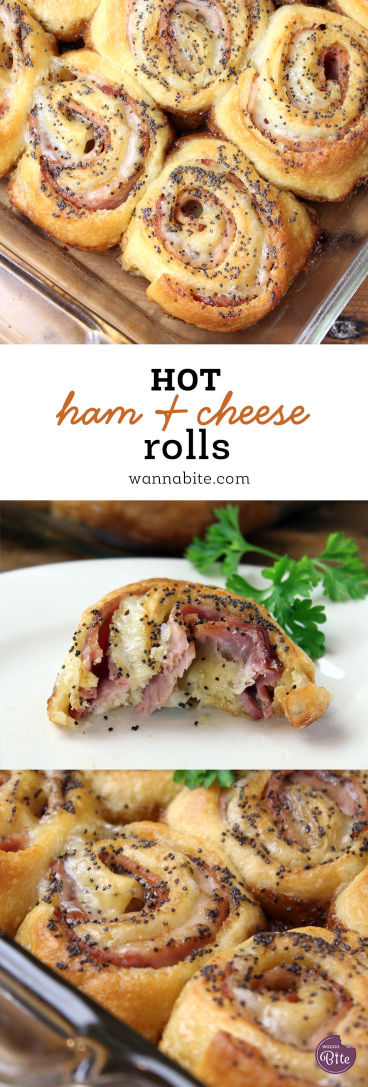 Simple and Easy Hot Ham and Cheese Rolls using crescents!! via @Wannabite