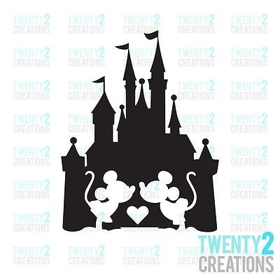 $2.47 MICKEY MINNIE DECAL DISNEY CASTLE LOVE STICKER WINDOW CAR LAPTOP *MORE COLORS*