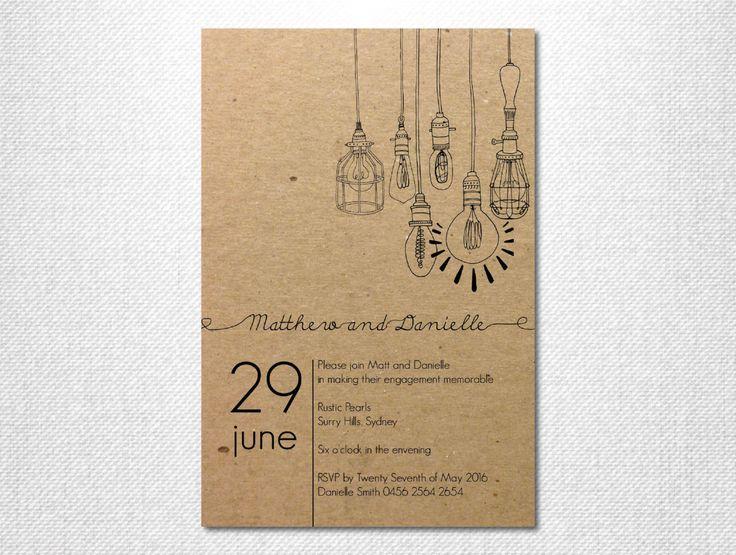 DIY Printable ~ Light Bulb Invites ~ Lights Invitation ~ Hanging Lights ~ Light Bulbs Invite ~ Engagement Party ~ Print Your Own