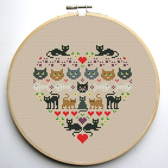Heart and Cats cross stitch pattern Instant by CrossStitchForYou