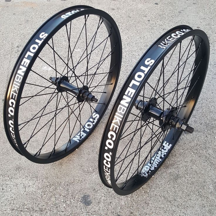 "STOLEN 20"" RAMPAGE CASSETTE 9T WHEEL SET RHD DOUBLE WALL BLACK BMX BIKE WHEELS"