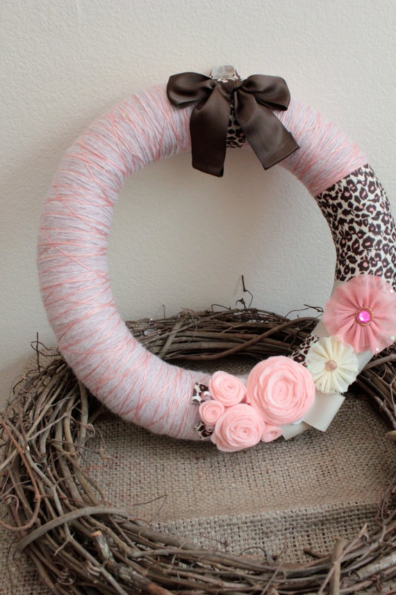 Pink and Cheetah - 14 inch - $30 Made by my sweet sweet friend Natalie. Good to have friends who can craft! :)