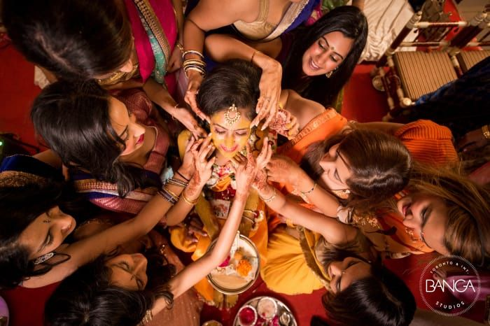 Rituals - The Haldi Ceremony! Photos, Hindu Culture, Beige Color, Mangtika, Wedding, Candid Clicks pictures, images, vendor credits - Anita Dongre Timeless, Shyamal and Bhumika, Anushree Reddy, WeddingPlz