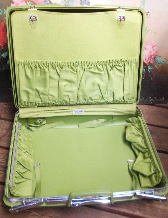 Retro Samsonite Suitcase Vintage Green Hard Sided Awesome Interior Luggage Travel Bag Craft Storage Boxstorage