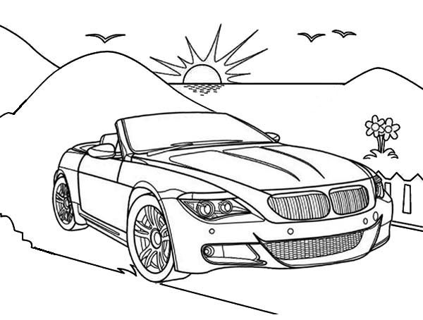 Convertible Coloring Page Cabriolet Drawing For Kids Gambar
