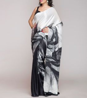 Black and White Digitally Printed Silk Satin Saree