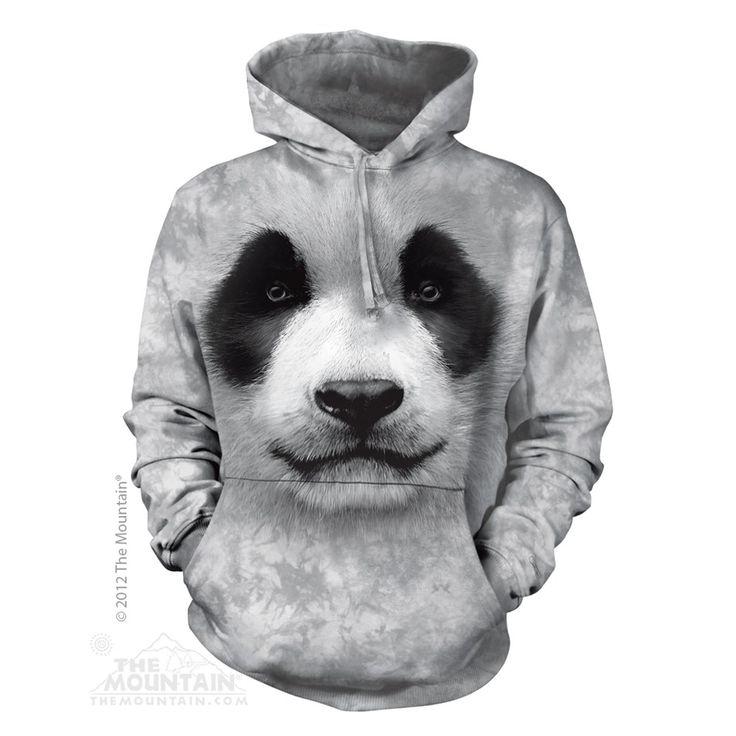 Big Face Panda felnőtt zsebes kapucnis pulóver