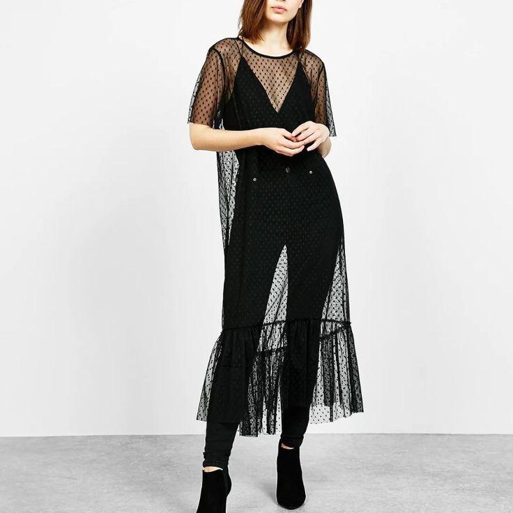 2017 Summer Sexy Womens Sheer Mesh Long Midi Dress Short Sleeve Polka Dot See Through Thin Casual Beach Loose Baggy Sundress
