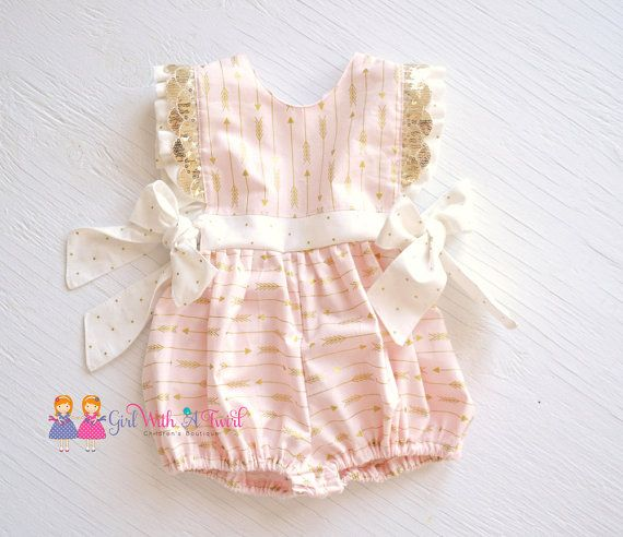 b756a62b2512 Baby girl pink and gold bubble romper. Gorgeous ruffles and beautiful  sparkly gold sequin trim adorn this perfectly pink romper with… | Sew much  fun.