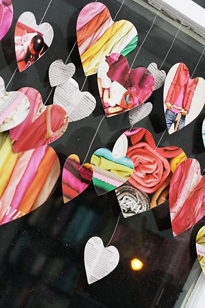 what a neat idea for reusing magazines, but loved the white paper chain with attached hearts better!