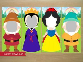 Snow White Photo Booth Prop (Snow White, Evil Queen, Grumpy & Happy) - Instant Download (Digital File)