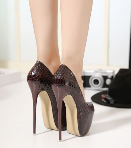 Women Ladies Snakeskin 6Inch High Platform Stiletto High Heels Pumps Party Shoes