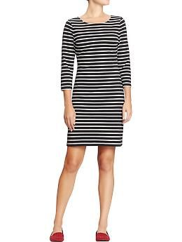 TOP - Womens Fitted Ponte-Knit Dresses - Size Small - Black Stripe - $20.  http://oldnavy.gap.com/browse/product.do?cid=41878&vid=3&pid=922387052